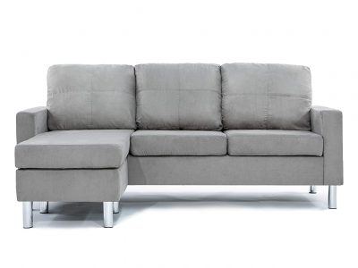 Divano Roma Furniture Modern Soft Brush Microfiber Sectional Sofa - Small Space Configurable Couch
