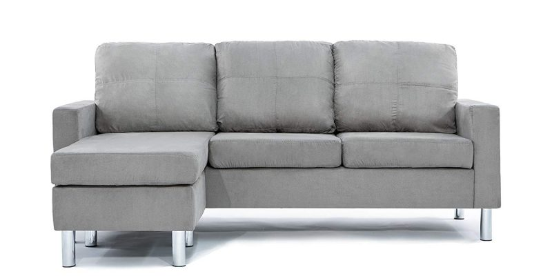 Divano Roma Modern Soft Brush Microfiber Sectional Sofa ...